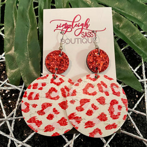 Crimson Leopard Drop Earrings
