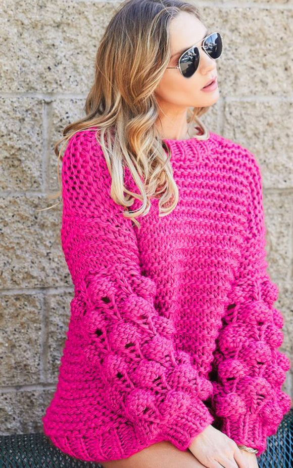 Handmade Knit Pom Pom Sweater