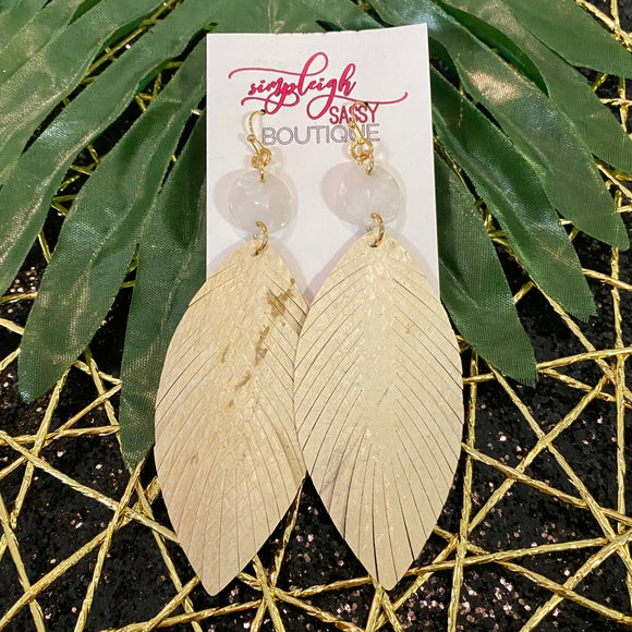 Animal Print Feather Drop Earrings with Resin Accent