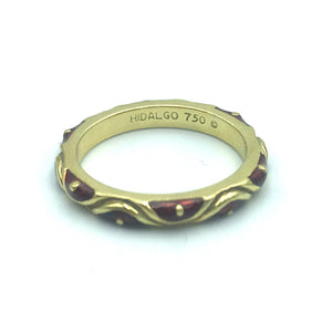 Hidalgo 18 Karat Yellow Gold and Red Enamel Ring, Sz. 6.5