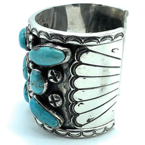 Vintage 1960's Navajo Sterling Silver & Morenci Turquoise  Wide Cuff Bracelet