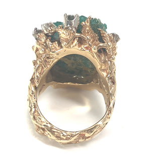 14K Yellow Gold 0.95ctw Diamond Chatham Emerald Ring Size 7.25