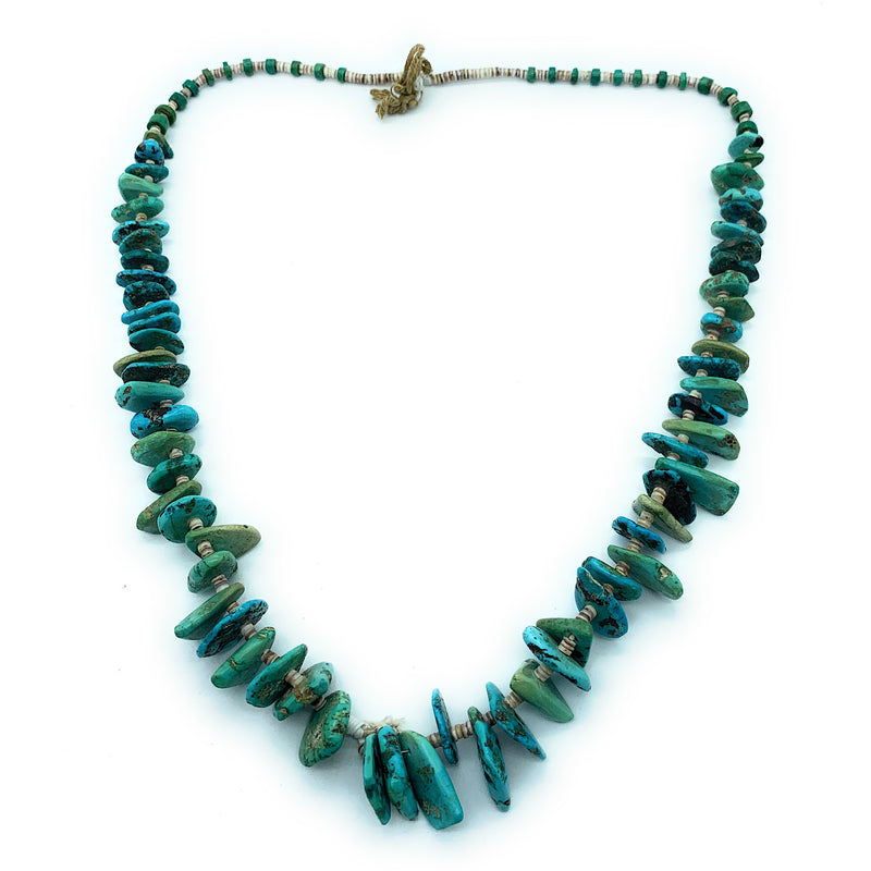 FABULOUS Vintage 1960's Carico Lake Turquoise & Shell Heishi Bead Necklace