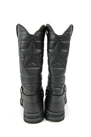 Chanel Quilted Leather Star Harness Womens Biker Boots - Size: EU 39.5 - Approx. US 9.5(W) Regular (M,B)