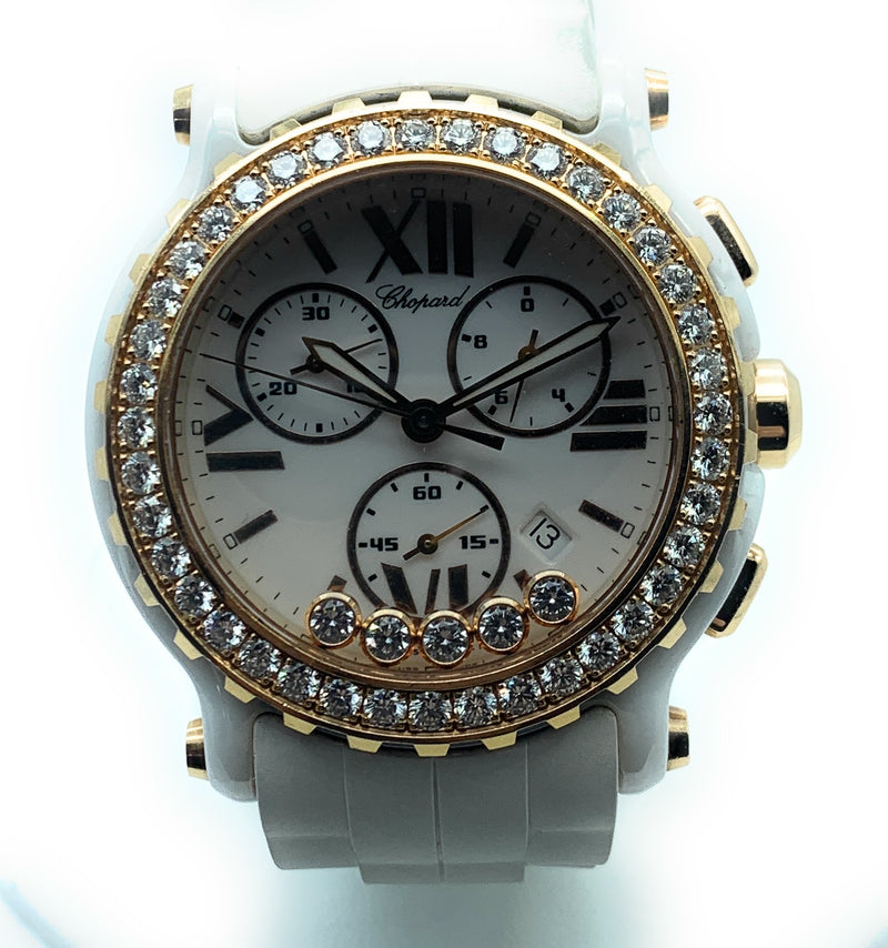 Chopard Happy Sport Chrono White Ceramic Rose Gold Diamond Ladies Watch 288515