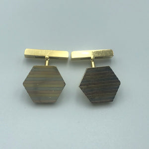 Cartier 18K Tricolor Gold Hexagon Shape Cufflinks #129