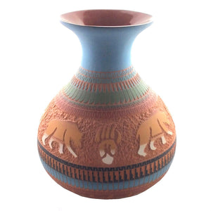 Navajo Signed J. Curley Native American Hand Etched Red Clay Pottery Vase