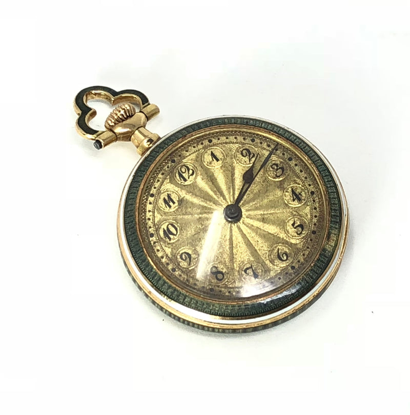 14K Yellow Gold Guilloche Diamond Enamel Pocket Watch Pendant
