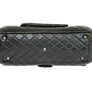 Chanel Airlines CC Flap Bag Quilted Black Calfskin XXL
