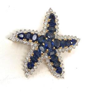 18K Yellow Gold Diamond and Blue Sapphire Starfish Brooch