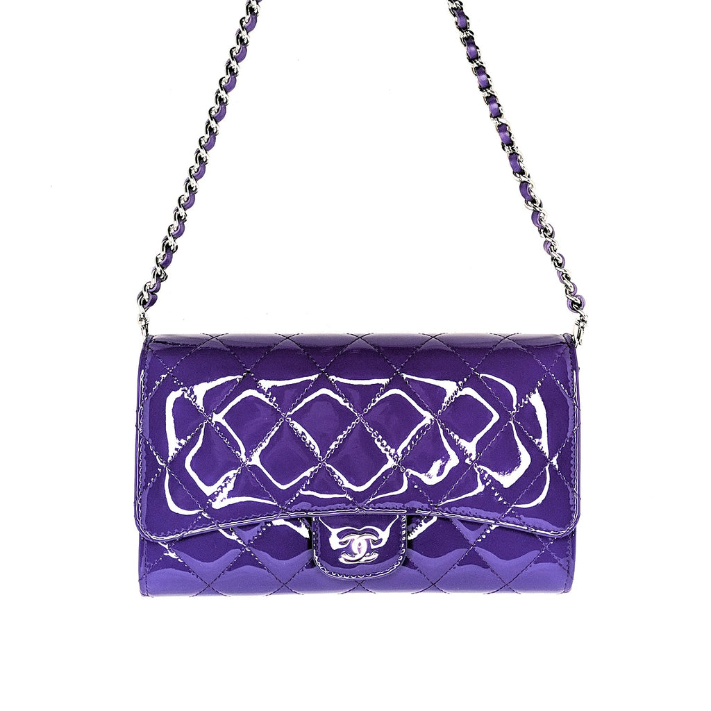 Chanel Purple Patent Leather Clutch With Chain CWC A80634