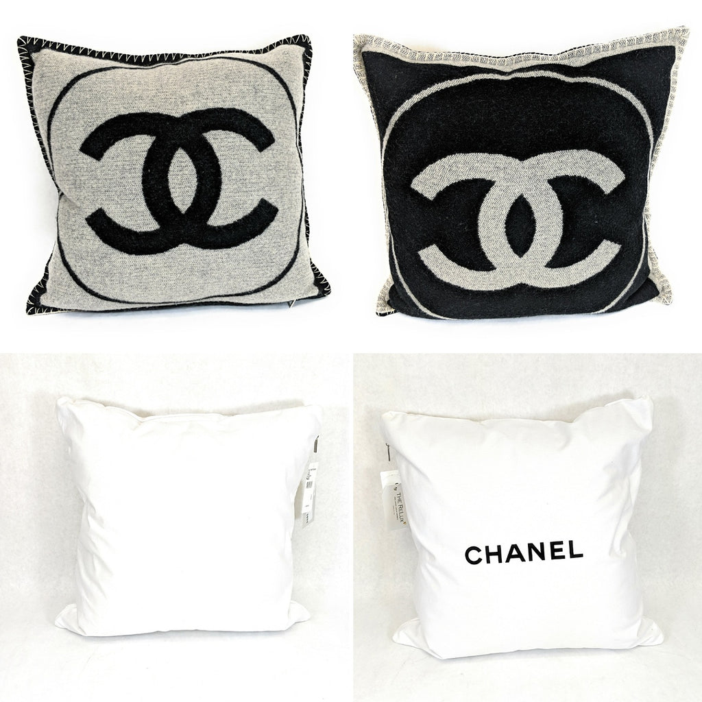 Chanel CC Cashmere Plush Wool Collectible Decorative Throw Pillow