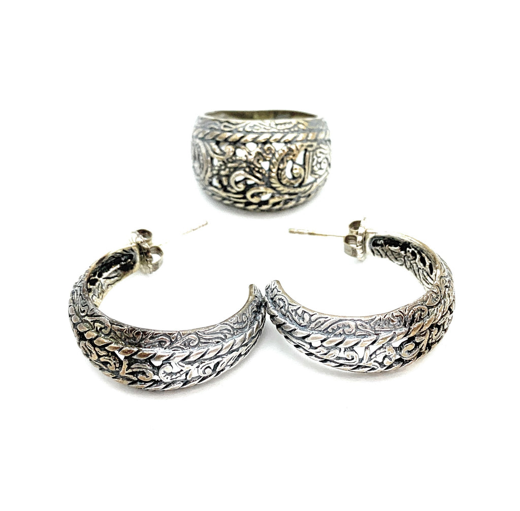 Vintage 1970's Engraved Sterling Silver 3-piece Jewelry Set