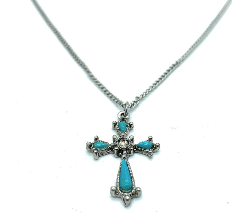 Vintage Old Pawn Sterling Silver Petit Point Turquoise Crucifix Pendant & Necklace