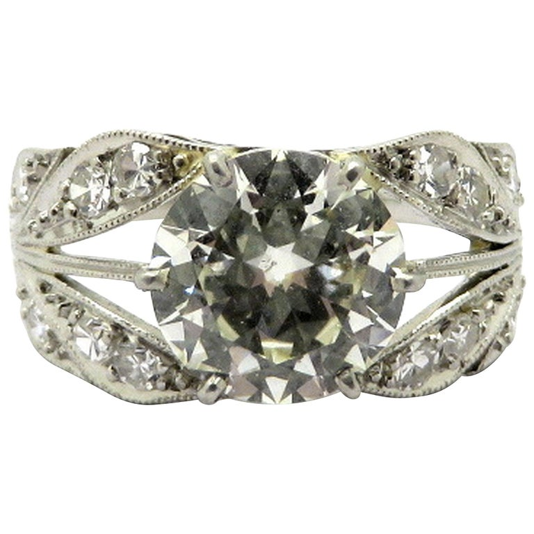 Platinum 2.37 Carat Old European Cut Art Deco Style Diamond Engagement Ring, Size 7.5