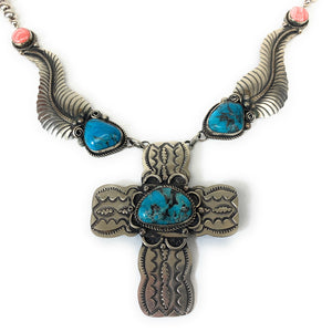 Vintage Navajo Sterling Silver Turquoise & Spiny Oyster Necklace