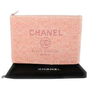 Chanel Pink Tweed Deauville O-Case Pouch Clutch