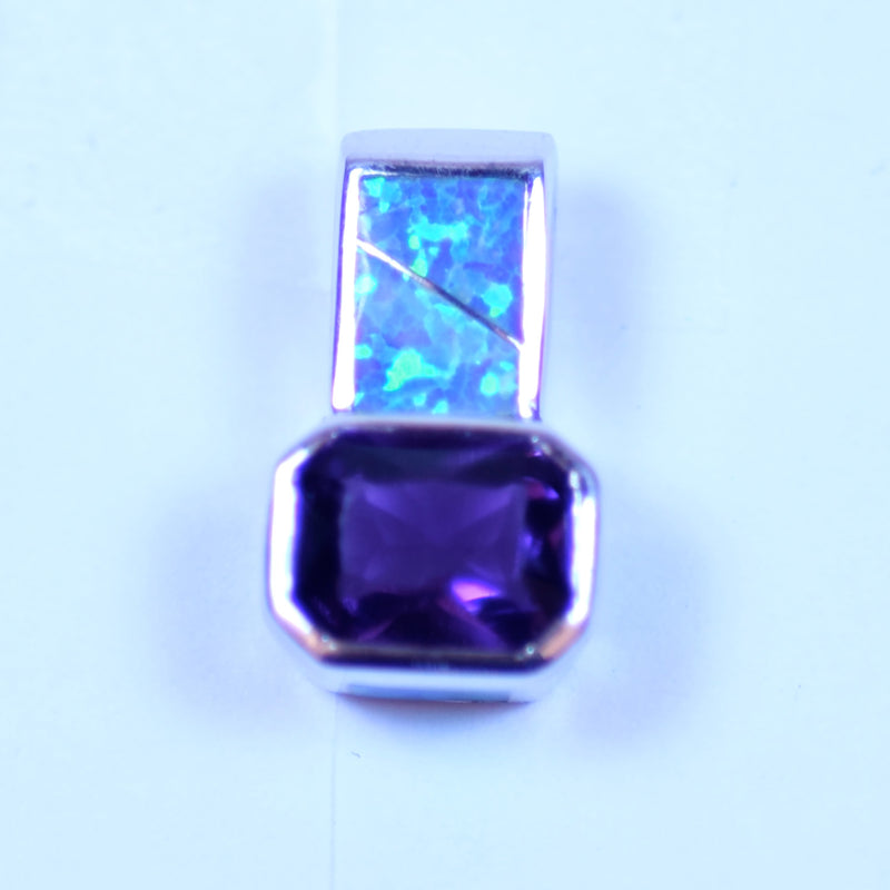 Sterling Silver Pendant with Inlaid Opal Stones and an Emerald Cut Amethyst