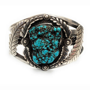 VINTAGE Navajo Sterling Silver Turquoise Triple Shank Wide Cuff Bracelet -Signed