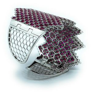 18K White Gold 13.76ctw Diamond & 47.16ctw Ruby Wide Hinged Cuff Bracelet