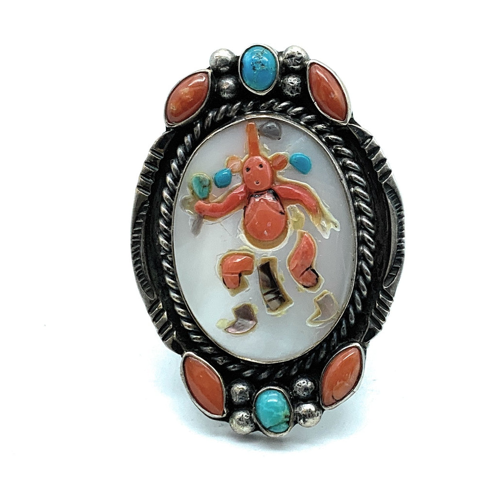 Vintage Zuni Kachina Split Shank Sterling Silver Multi-Stone Inlay Ring