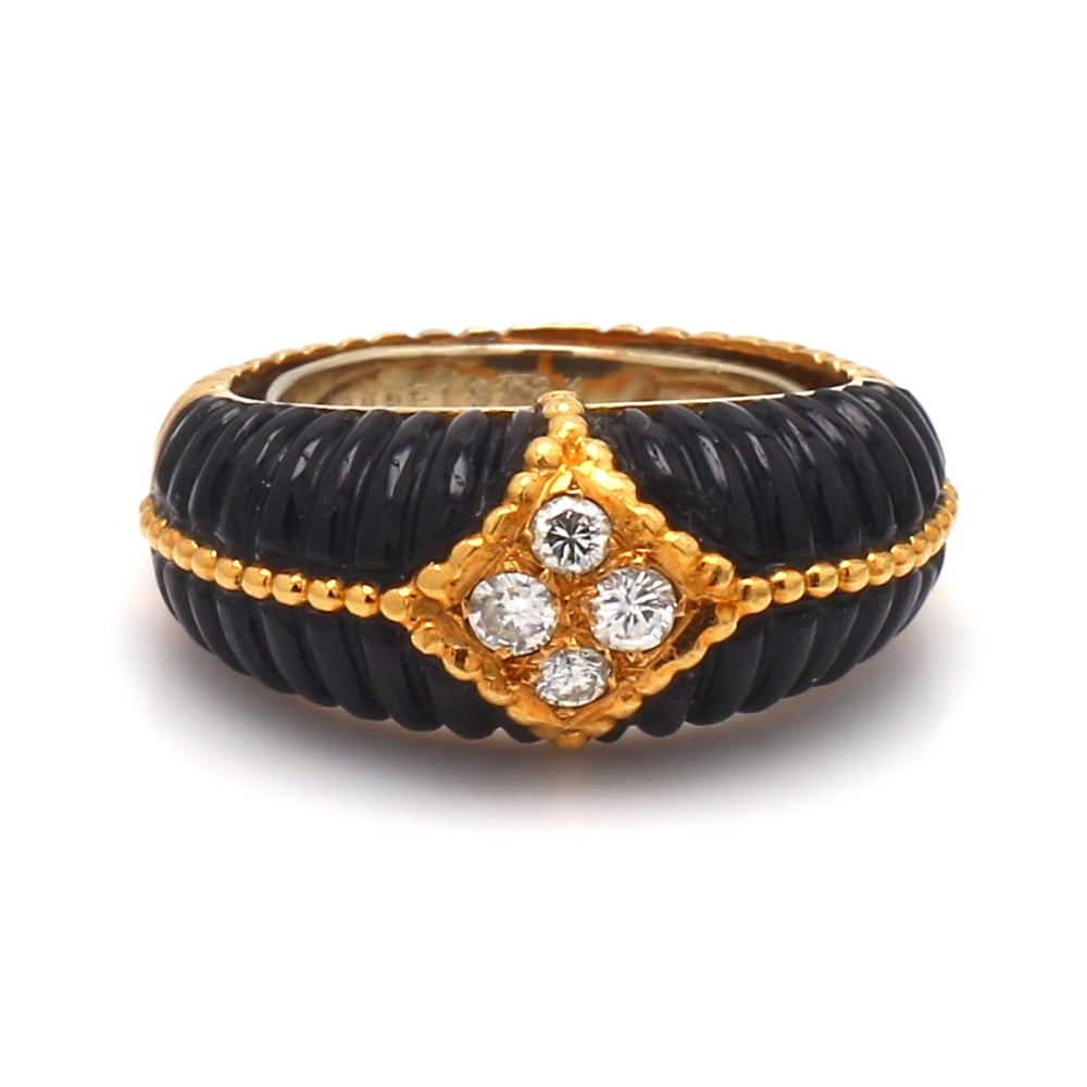Van Cleef & Arpels 18K Yellow Gold, Onyx, & Diamond Ring - Sz. 4