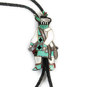 Vintage Zuni Sterling Silver Multi Stone Inlay Kachina Bolo Tie