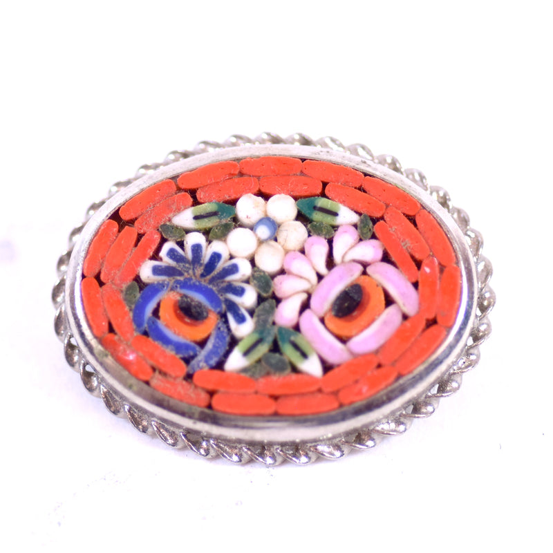 Vintage Red Brick Micro Mosaic Floral Oval Jewelry Pin Brooch