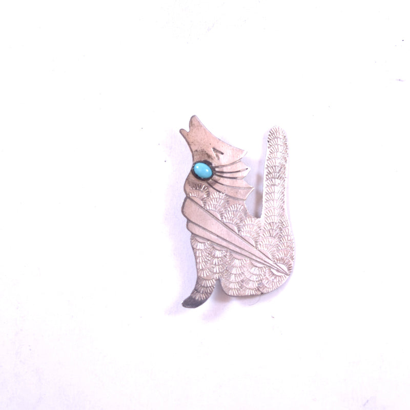 MJ Signed Native American Sterling Silver Coyote Wolf Turquoise Pin Brooch
