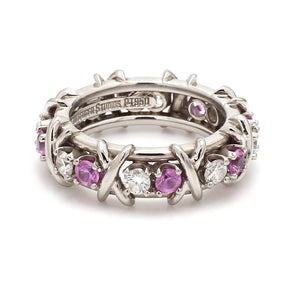 Tiffany & Co. Schlumberger Platinum, Diamond, & Pink Sapphire Ring - Sz. 5-1/4