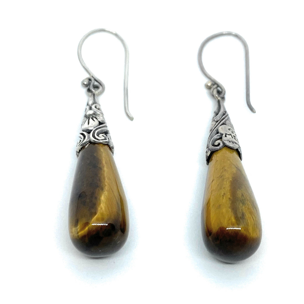 MERAV Sterling Silver Tiger Eye Stone Dangle Earrings