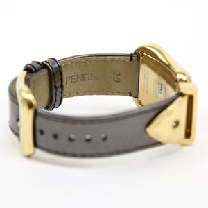 B. Fendi Diamond Buckle Watch with Leather Strap, Gold/Black