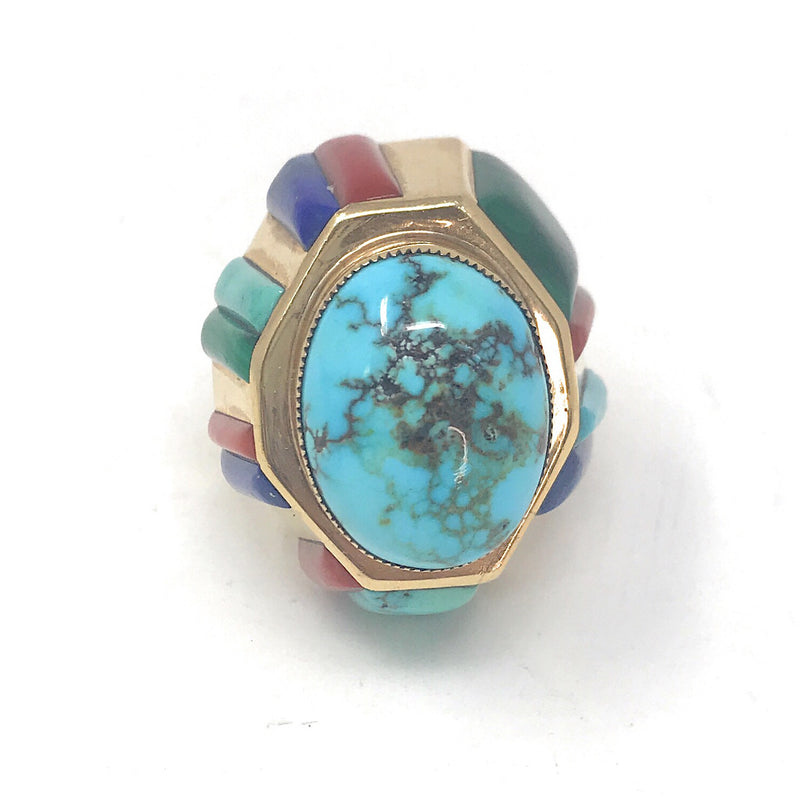 Native American 14K yellow Gold Turquoise Multi-stone Ring, Size 6.5