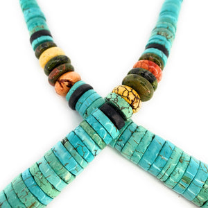 Vintage Sterling Silver Santo Domingo Turquoise & Multi-Stone Heishi Bead Necklace