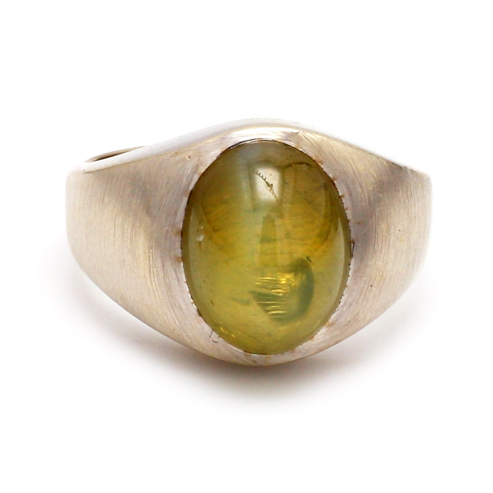 Vintage 10.00ct Oval Chrysoberyl Cat Eye 14K White Gold Men's Ring- Sz. 7.5
