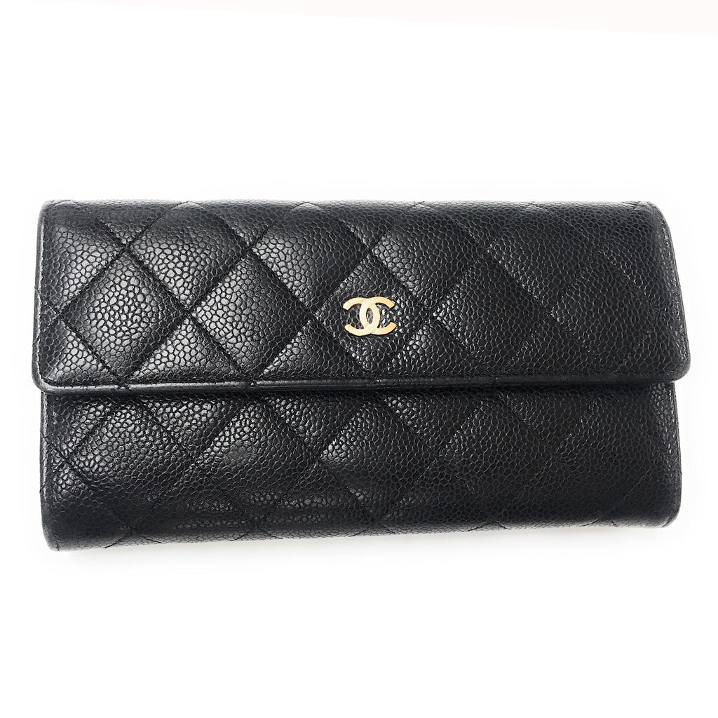 CHANEL Classic Black Quilted Caviar Leather Flap Wallet
