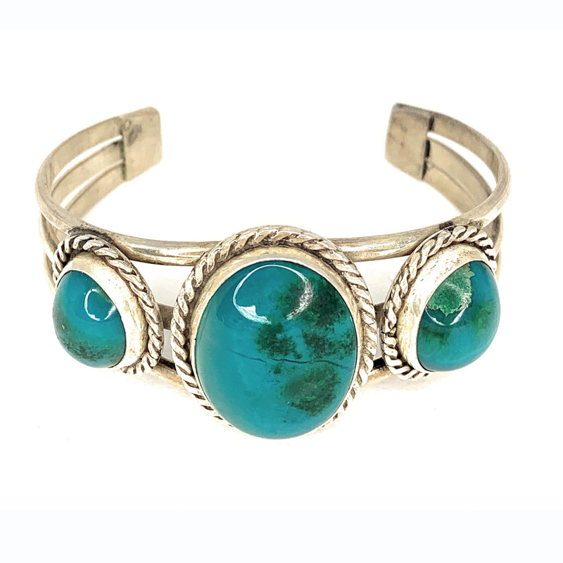 Native American Triple Shank Sterling Silver & Chrysocolla Cabochon Cuff Bracelet