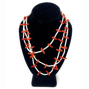 Very Rare Vintage Navajo 3-Strand All Coral Fetish Heishi Bead Necklace
