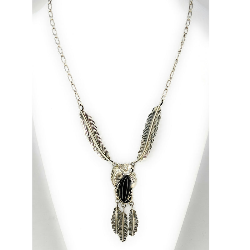Vintage Navajo Sterling Silver & Onyx Feather Necklace