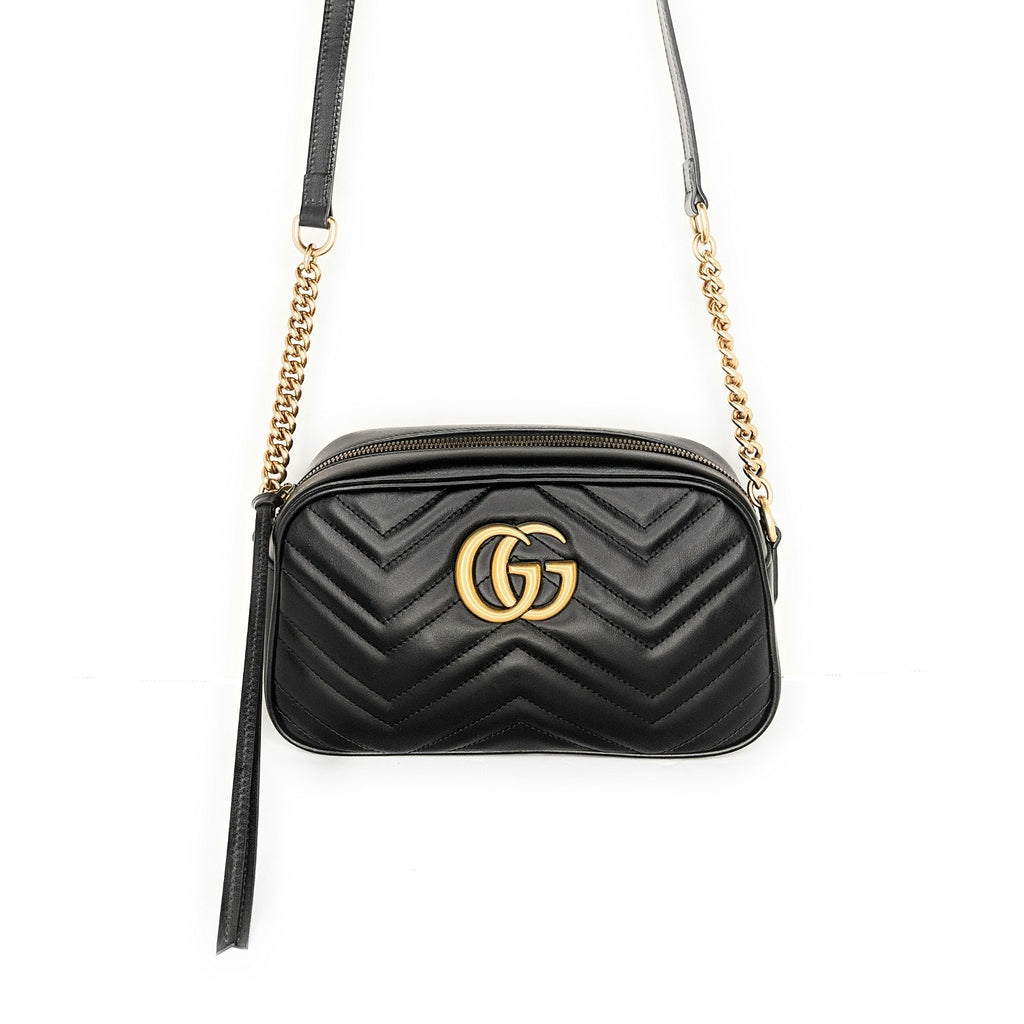 Gucci Black Calfskin Matelasse GG Marmont Small Bag