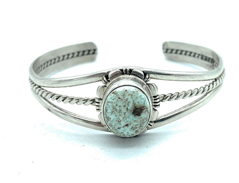 VINTAGE 1960's Navajo Sterling Silver & Turquoise Cuff Bracelet