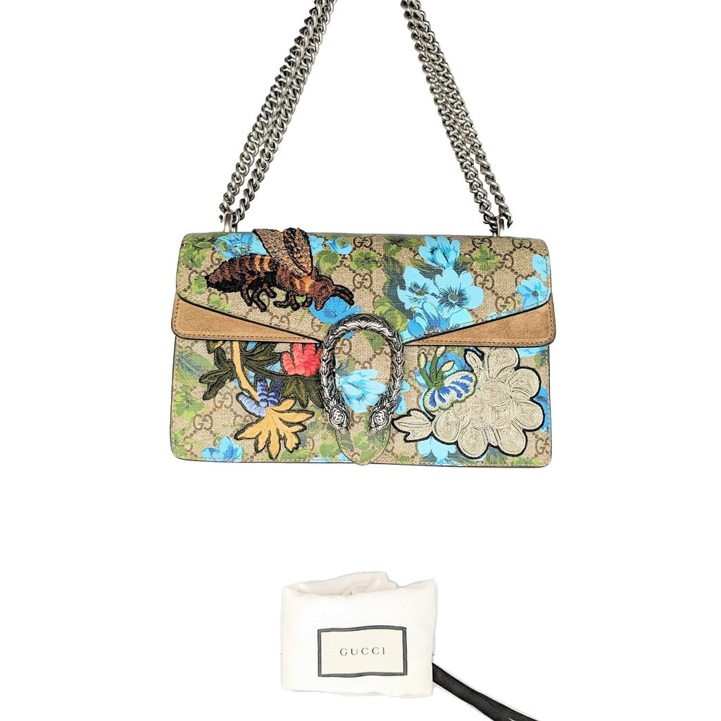 Gucci GG Supreme Embroidered Bird/Flowers Small Dionysus Shoulder Bag