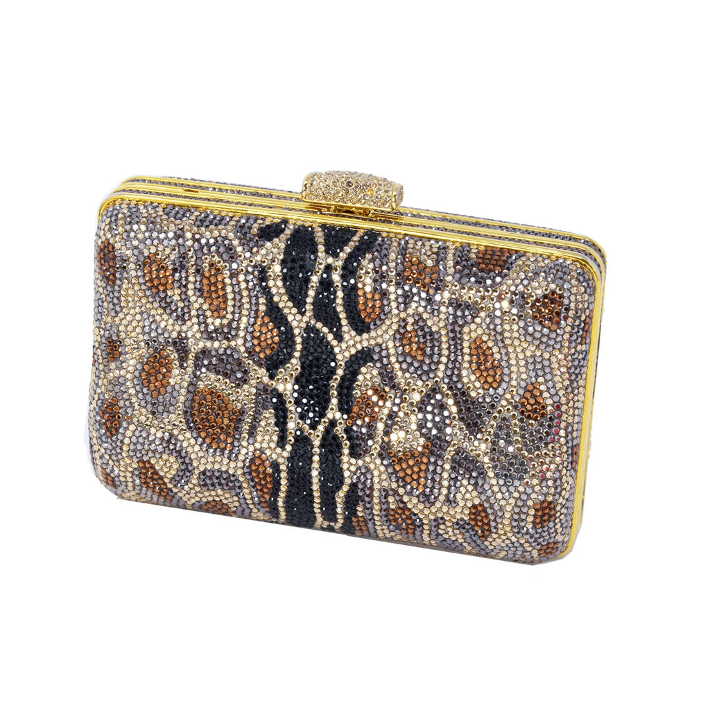 Judith Leiber Soho Seamless Leopard Crystal Clutch In Champagne