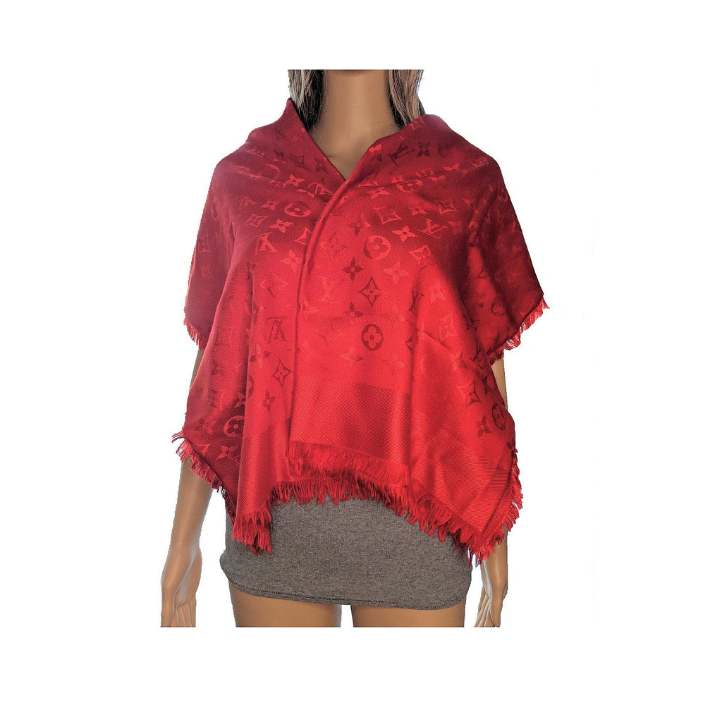Louis Vuitton Red Monogram Jacquard Shawl Wrap