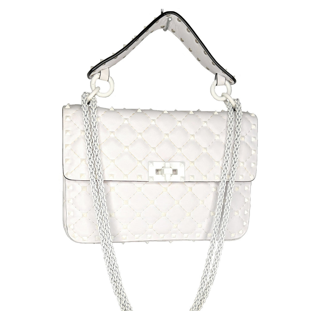 Valentino White Rockstud Spike Medium Shoulder Bag