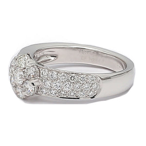Van Cleef & Arpels Fleurette Diamond 18K White Gold 3-Row Ring - Sz. 6