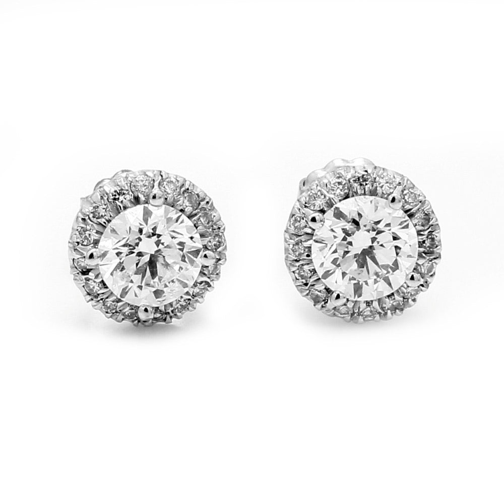 18K White Gold & 2.30ctw Diamond Halo Post Earrings