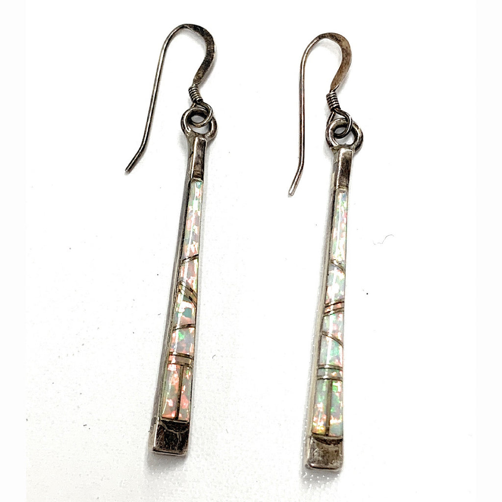 Vintage Zuni Sterling Silver & Opal Inlay Dangle-Post Earrings