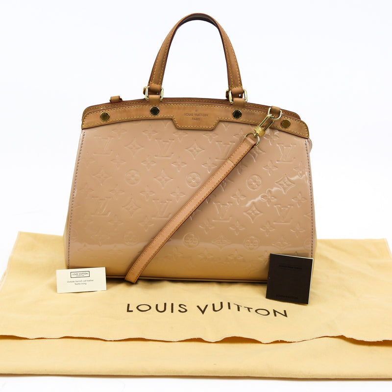 Louis Vuitton Brea MM Rose Florentin Monogram Vernis Leather