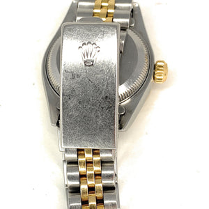 ROLEX 18K Gold & Stainless Steel Diamond & Ruby Bezel Datejust Ladies Watch